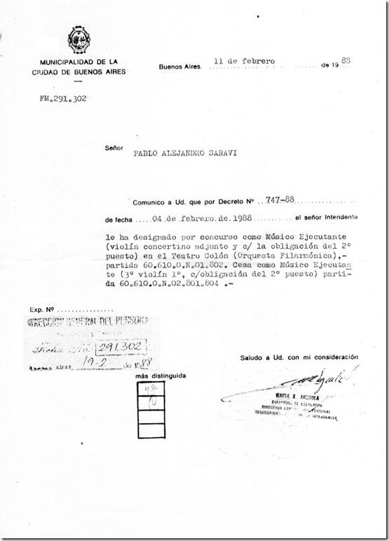 Pablo Saraví-Nombramiento Concertino Adjunto 1988